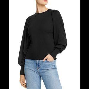 AQUA Ballon - Sleeve Rib- Knit Top exclusive black